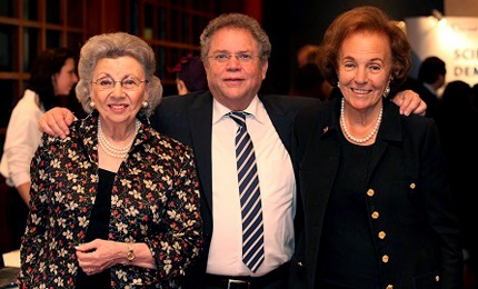 Proud supporters Mrs.Charlotte Frank (R) and Mrs. Edith Everett (L), President of Friends of Israel Sci-Tech Schools Network, USA with Network Director-General Mr. Zvi Peleg.